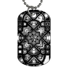 Geometric Line Art Background In Black And White Dog Tag (two Sides)