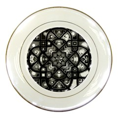 Geometric Line Art Background In Black And White Porcelain Plates