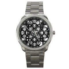 Geometric Line Art Background In Black And White Sport Metal Watch