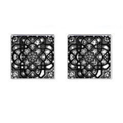 Geometric Line Art Background In Black And White Cufflinks (square)