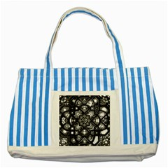 Geometric Line Art Background In Black And White Striped Blue Tote Bag