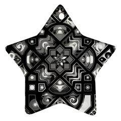 Geometric Line Art Background In Black And White Star Ornament (two Sides)