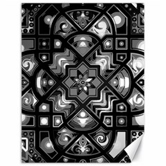 Geometric Line Art Background In Black And White Canvas 18  X 24