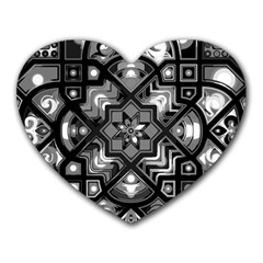 Geometric Line Art Background In Black And White Heart Mousepads
