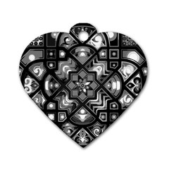 Geometric Line Art Background In Black And White Dog Tag Heart (two Sides)