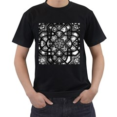 Geometric Line Art Background In Black And White Men s T Shirt (black)