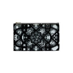 Geometric Line Art Background In Black And White Cosmetic Bag (small)