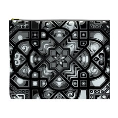 Geometric Line Art Background In Black And White Cosmetic Bag (xl)