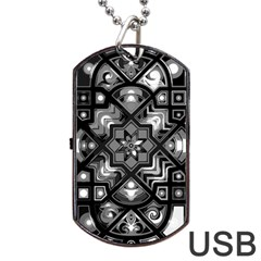 Geometric Line Art Background In Black And White Dog Tag Usb Flash (two Sides)