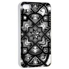 Geometric Line Art Background In Black And White Apple iPhone 4/4s Seamless Case (White)