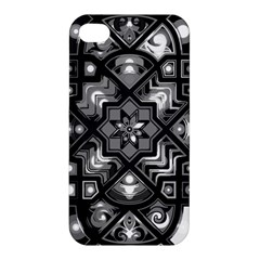 Geometric Line Art Background In Black And White Apple Iphone 4/4s Hardshell Case