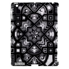 Geometric Line Art Background In Black And White Apple iPad 3/4 Hardshell Case (Compatible with Smart Cover)