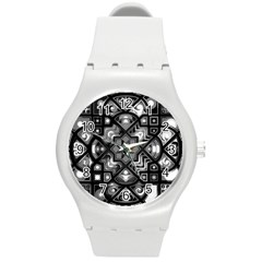 Geometric Line Art Background In Black And White Round Plastic Sport Watch (M)