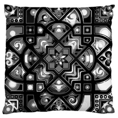 Geometric Line Art Background In Black And White Large Cushion Case (one Side)