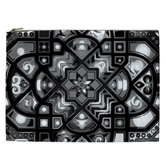 Geometric Line Art Background In Black And White Cosmetic Bag (XXL)