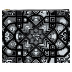 Geometric Line Art Background In Black And White Cosmetic Bag (XXXL)