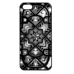 Geometric Line Art Background In Black And White Apple iPhone 5 Seamless Case (Black)