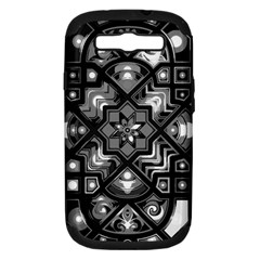 Geometric Line Art Background In Black And White Samsung Galaxy S III Hardshell Case (PC+Silicone)