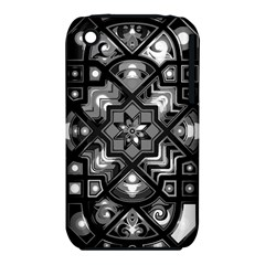 Geometric Line Art Background In Black And White iPhone 3S/3GS