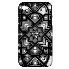 Geometric Line Art Background In Black And White Apple iPhone 4/4S Hardshell Case (PC+Silicone)