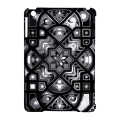 Geometric Line Art Background In Black And White Apple iPad Mini Hardshell Case (Compatible with Smart Cover)