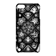 Geometric Line Art Background In Black And White Apple iPod Touch 5 Hardshell Case with Stand