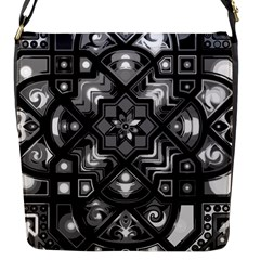 Geometric Line Art Background In Black And White Flap Messenger Bag (S)