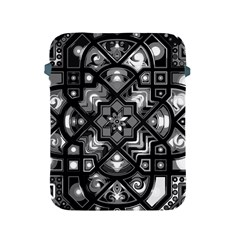Geometric Line Art Background In Black And White Apple iPad 2/3/4 Protective Soft Cases