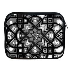 Geometric Line Art Background In Black And White Apple iPad 2/3/4 Zipper Cases