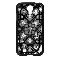Geometric Line Art Background In Black And White Samsung Galaxy S4 I9500/ I9505 Case (Black)