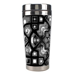 Geometric Line Art Background In Black And White Stainless Steel Travel Tumblers