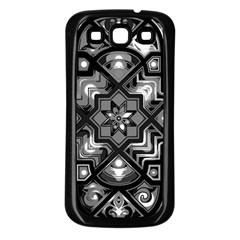 Geometric Line Art Background In Black And White Samsung Galaxy S3 Back Case (Black)