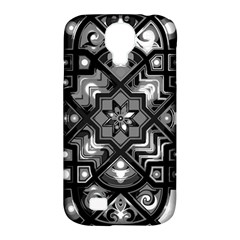 Geometric Line Art Background In Black And White Samsung Galaxy S4 Classic Hardshell Case (PC+Silicone)