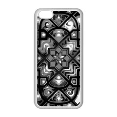 Geometric Line Art Background In Black And White Apple iPhone 5C Seamless Case (White)