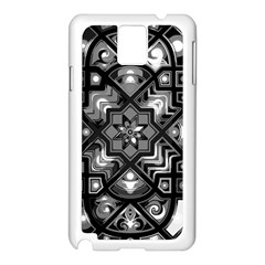 Geometric Line Art Background In Black And White Samsung Galaxy Note 3 N9005 Case (White)