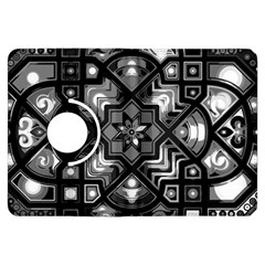 Geometric Line Art Background In Black And White Kindle Fire HDX Flip 360 Case