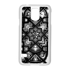 Geometric Line Art Background In Black And White Samsung Galaxy S5 Case (white)