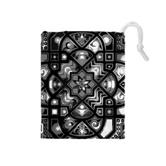 Geometric Line Art Background In Black And White Drawstring Pouches (Medium)