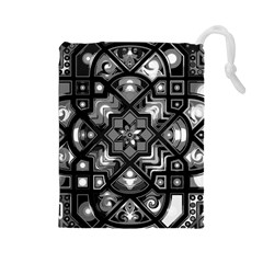 Geometric Line Art Background In Black And White Drawstring Pouches (Large)
