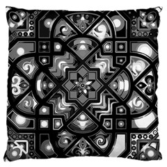 Geometric Line Art Background In Black And White Large Flano Cushion Case (Two Sides)