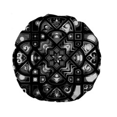 Geometric Line Art Background In Black And White Standard 15  Premium Flano Round Cushions