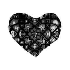 Geometric Line Art Background In Black And White Standard 16  Premium Flano Heart Shape Cushions