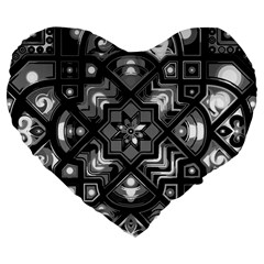 Geometric Line Art Background In Black And White Large 19  Premium Flano Heart Shape Cushions