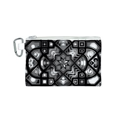 Geometric Line Art Background In Black And White Canvas Cosmetic Bag (S)