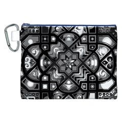 Geometric Line Art Background In Black And White Canvas Cosmetic Bag (XXL)