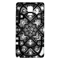 Geometric Line Art Background In Black And White Galaxy Note 4 Back Case