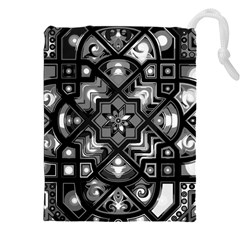 Geometric Line Art Background In Black And White Drawstring Pouches (XXL)