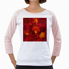 Autumn Leaves Fall Maple Girly Raglans