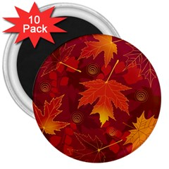 Autumn Leaves Fall Maple 3  Magnets (10 pack)
