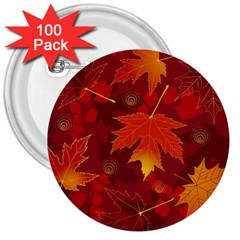 Autumn Leaves Fall Maple 3  Buttons (100 Pack)